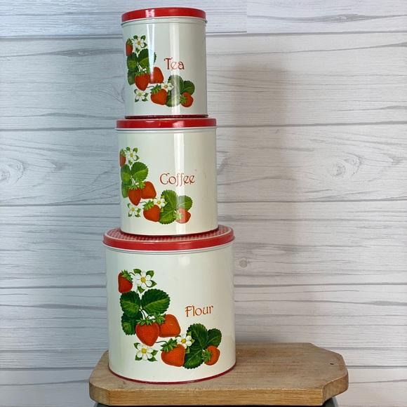 Vintage Other - Vintage strawberry kitchen storage tins
